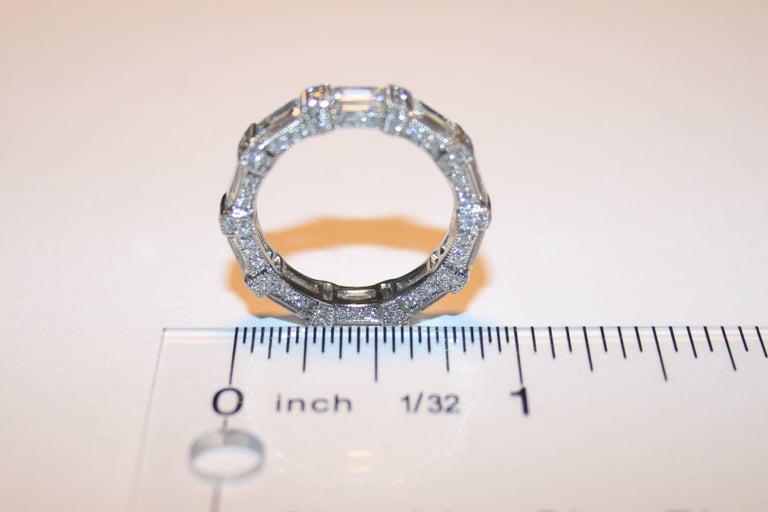 Women's 5.18 Carat Emerald Cut Eternity Diamond Platinum Band For Sale