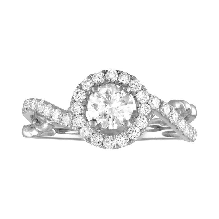 GIA Certified 0.55 Carat H VVS2 Round Diamond Gold Engagement Ring