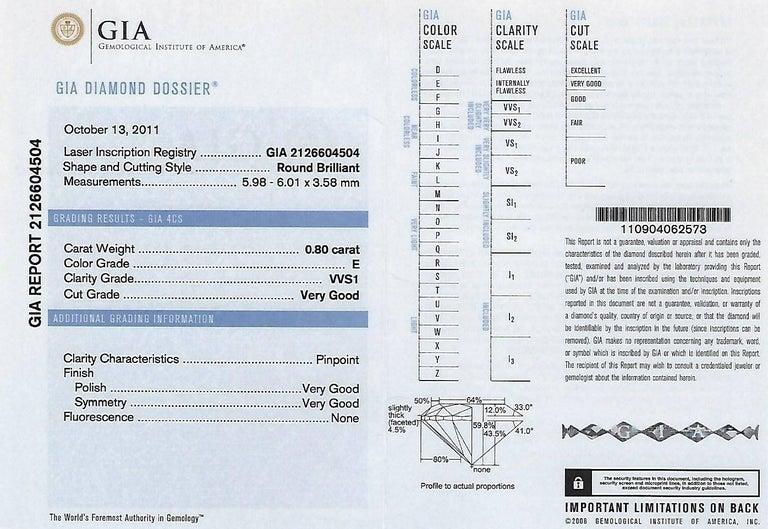 GIA Certified 0.80 Carat E VVS1 Round Diamond Gold Milgrain Engagement Ring For Sale 3
