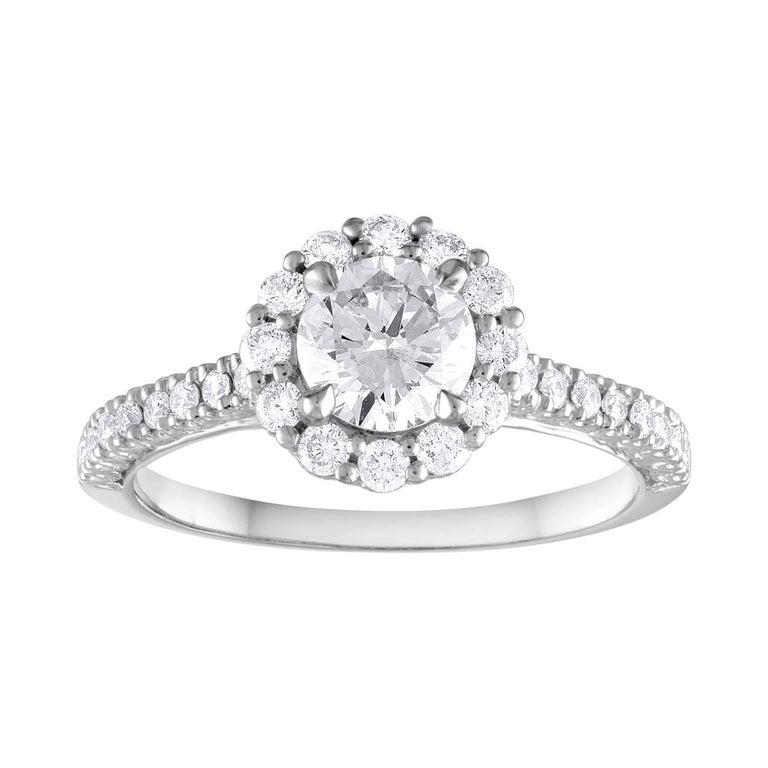 GIA Certified 0.80 Carat E VVS1 Round Diamond Gold Milgrain Engagement Ring For Sale