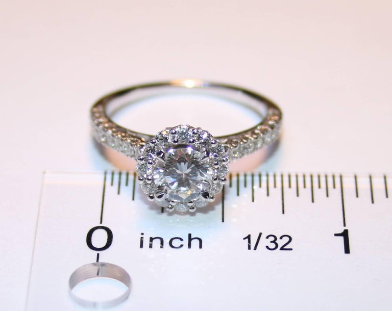 Women's GIA Certified 0.80 Carat E VVS1 Round Diamond Gold Milgrain Engagement Ring For Sale