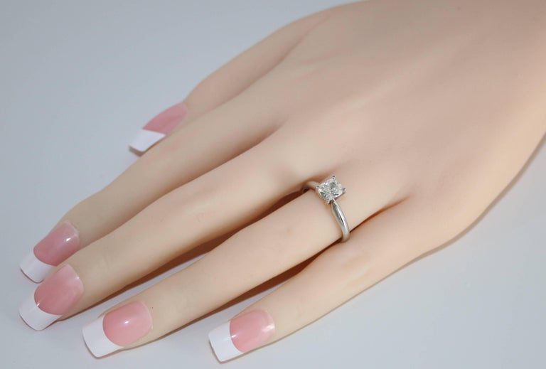 Contemporary GIA Certified 0.79 Carat H VS1 Cushion Cut Diamond Platinum Solitaire Ring For Sale