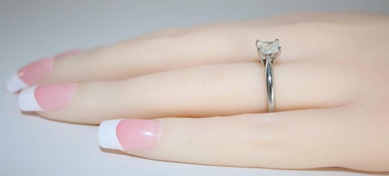 Women's GIA Certified 0.79 Carat H VS1 Cushion Cut Diamond Platinum Solitaire Ring For Sale