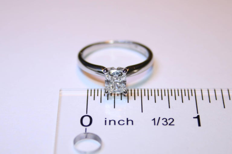 GIA Certified 0.79 Carat H VS1 Cushion Cut Diamond Platinum Solitaire Ring For Sale 1