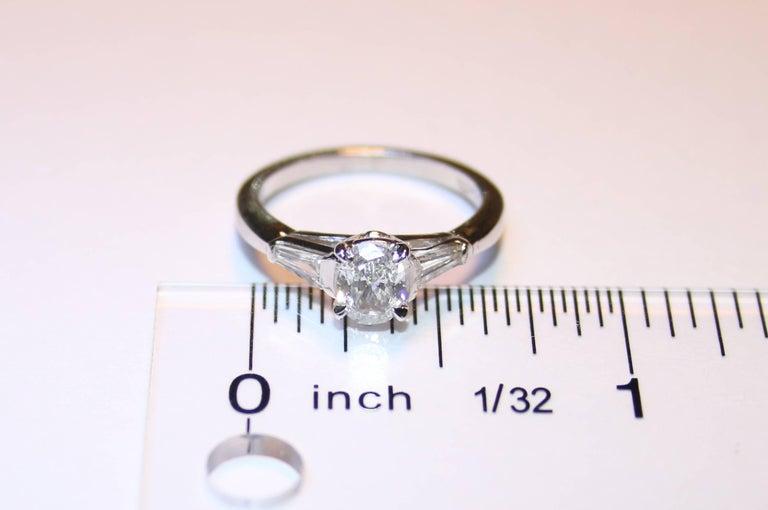 Women's 0.51 Carat Oval Diamond Platinum Engagement Ring For Sale