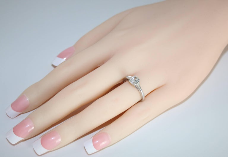 Contemporary 0.51 Carat Oval Diamond Platinum Engagement Ring For Sale