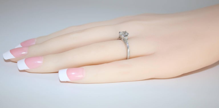 Oval Cut 0.51 Carat Oval Diamond Platinum Engagement Ring For Sale