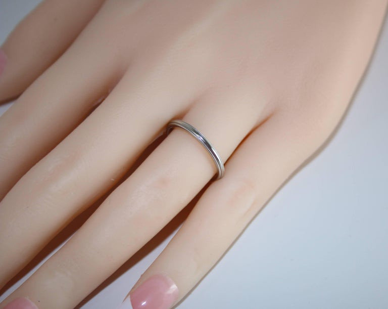 Milgrain Platinum Wedding Band Ring Size 5 For Sale At 1stdibs