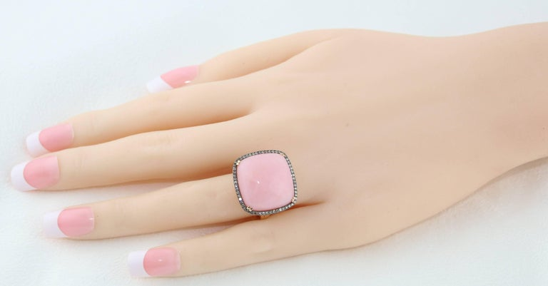 Cushion Cut 17.00 Carat Pink Opal and Diamonds Gold Statement Ring For Sale