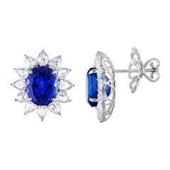 12.70 Carat Oval Tanzanite and Rose Cut Diamond Gold Earrings