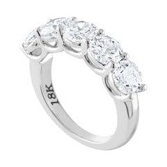 GIA Certified 3.52 Carat Diamond 5-Stone Gold Half Band Ring
