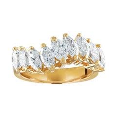 2.00 Carat Marquise Cut Diamond Half Band Wave Gold Ring