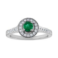 0.30 Carat Emerald Diamond Gold Ring