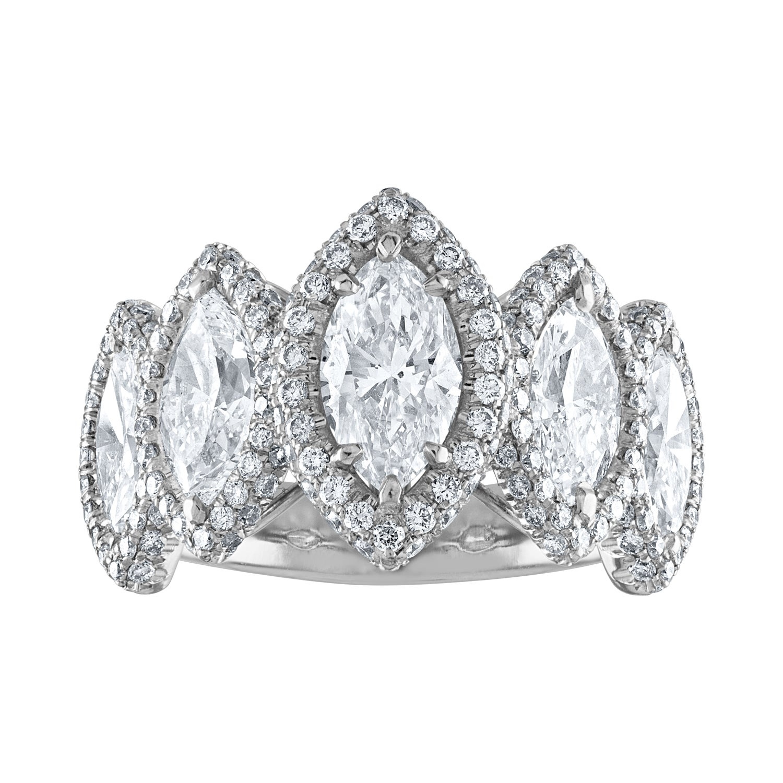 GIA Certified 4.23 Carat Five-Stone Marquise Cut Diamond Platinum Ring