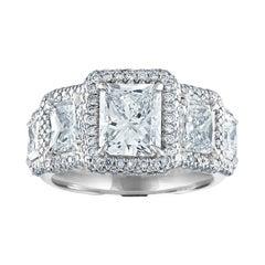 GIA Certified 4.81 Carat Five-Stone Radian Cut Diamond Gold Ring