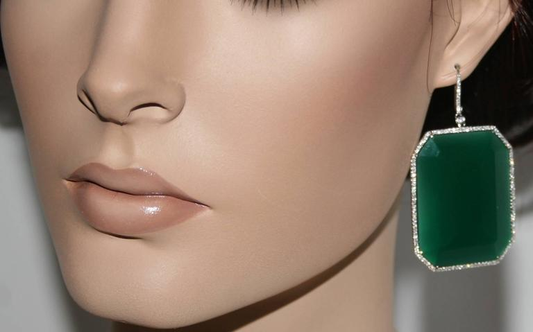 Modern 118.15 Carats Green Agate and Diamond Gold Earrings For Sale