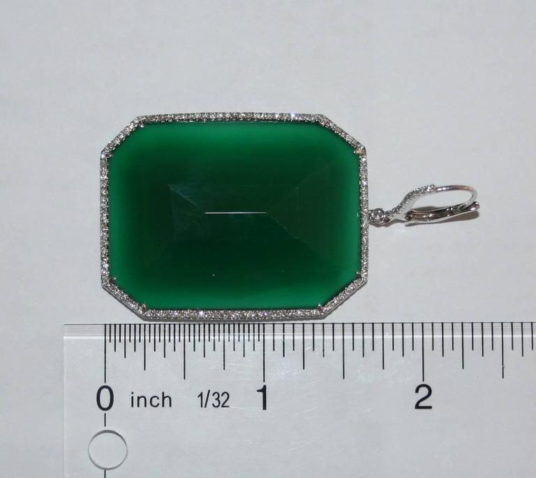 Emerald Cut 118.15 Carats Green Agate and Diamond Gold Earrings For Sale