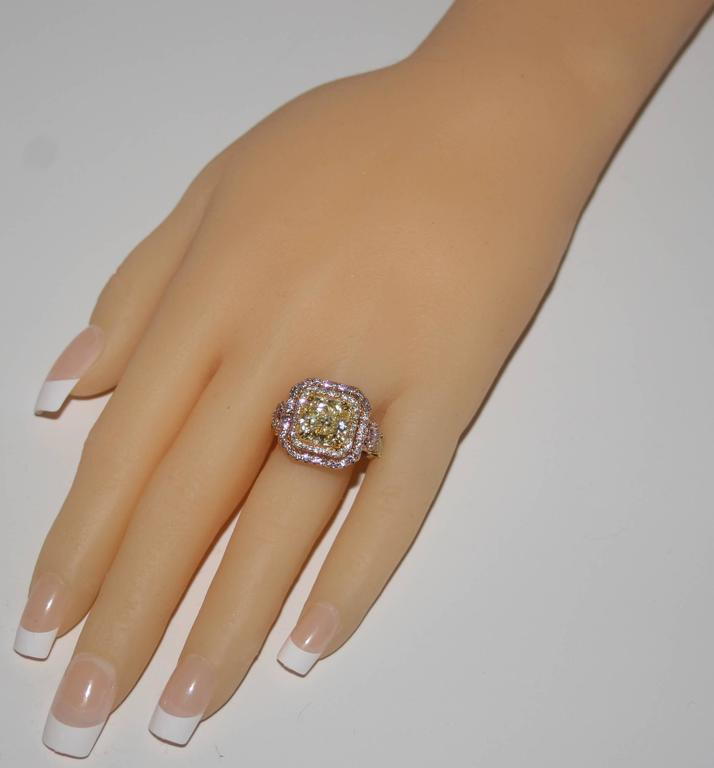 Radiant Cut GIA Fancy Yellow 4.02 Carat Diamond Accented With Fancy Pink Diamonds For Sale