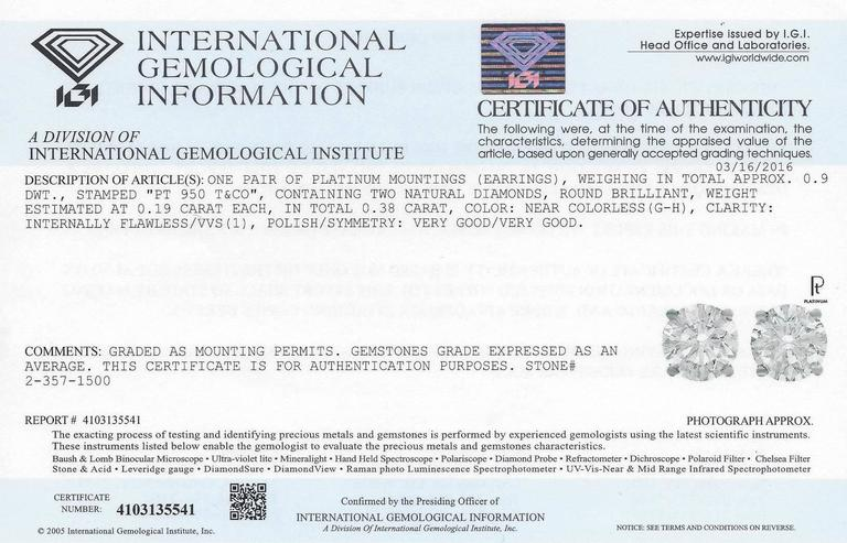 Round Cut IGI Certified Tiffany & Co. 0.38 Carat Diamond Platinum Stud Earrings For Sale