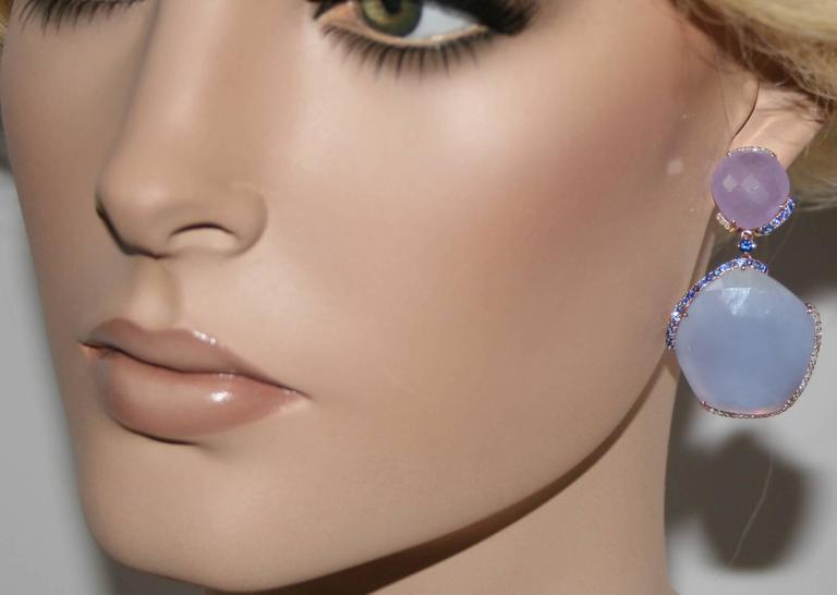 Chalcedony Purple Jade Sapphire Gold Drop Earrings 2
