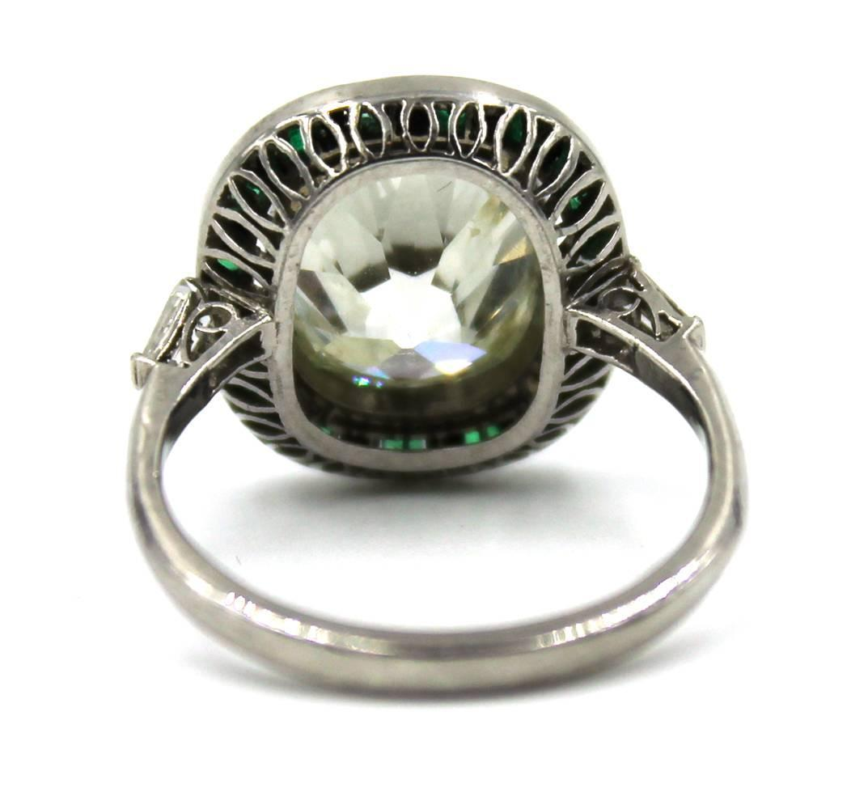 4 25 carat Cushion Cut Diamond Gemstone Platinum Ring at 1stdibs