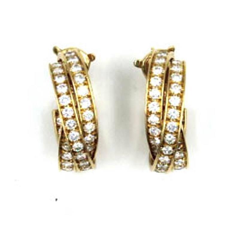 Modern Cartier 5-Carat Diamond 18 Karat Yellow Gold Trinity Hoop Earrings For Sale