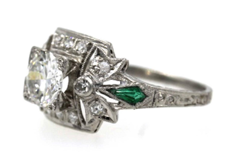 deco emerald platinum engagement ring at 1stdibs