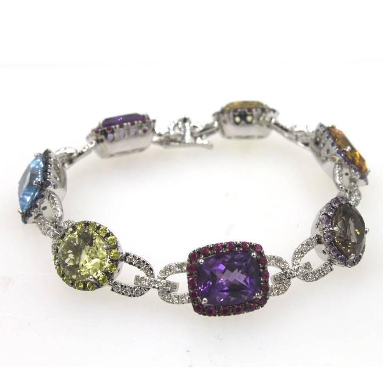Beautifully Crafted Multi Color Gemstone And Diamond Link Bracelet Diamonds Shires Rubies
