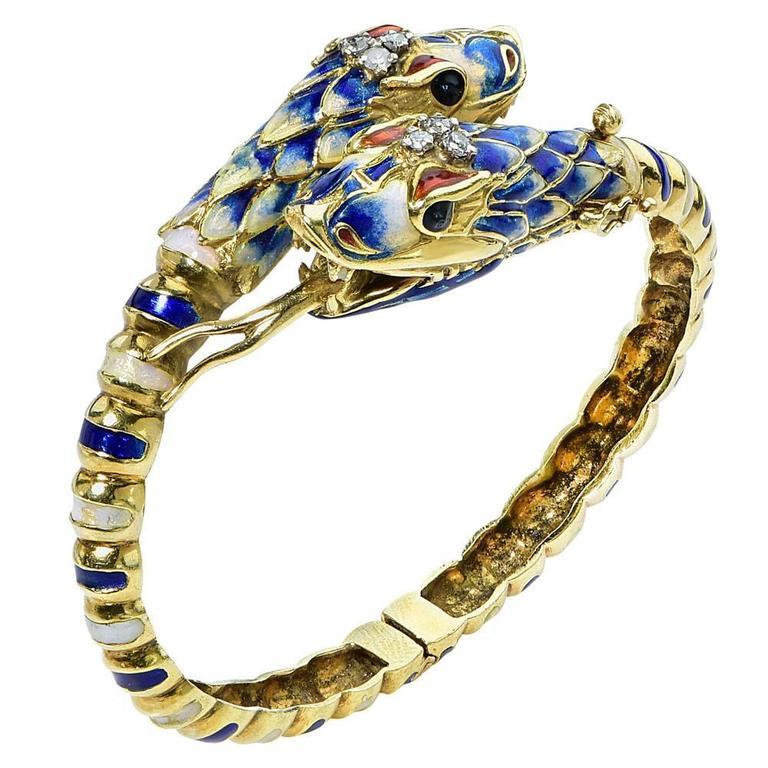 Enamel Diamond 18 Karat Yellow Gold Snake Bangle Bracelet