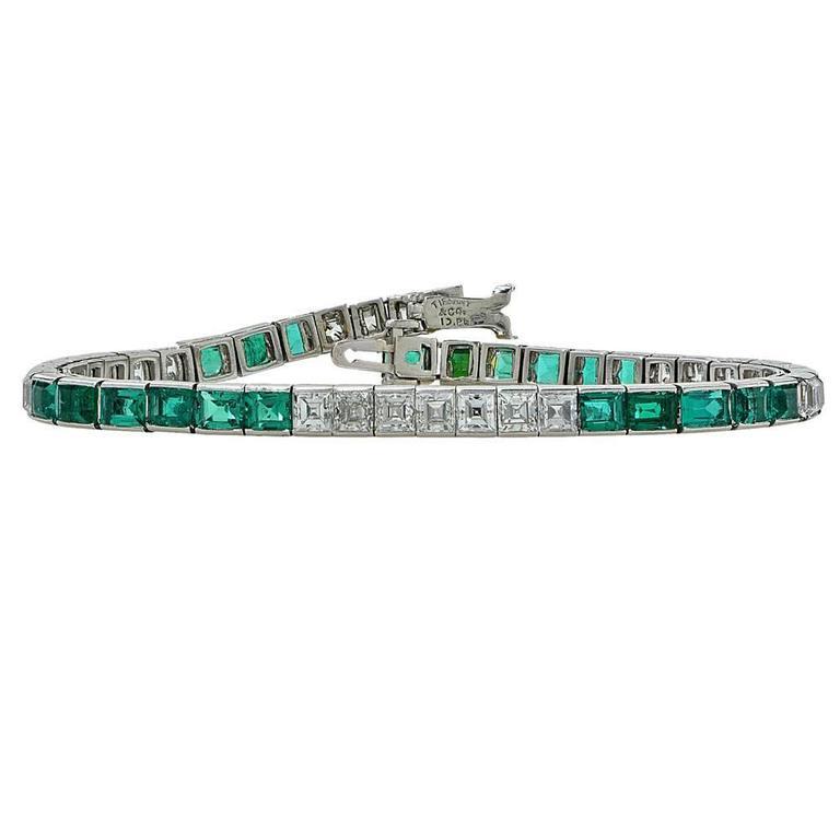 Emerald Cut 1950s Tiffany & Co. Diamond Emerald Platinum Line Bracelet For Sale