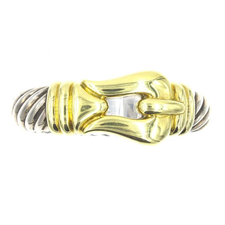 David Yurman 18 Karat Gold Sterling Silver Gold Buckle Cuff Cable Bracelet