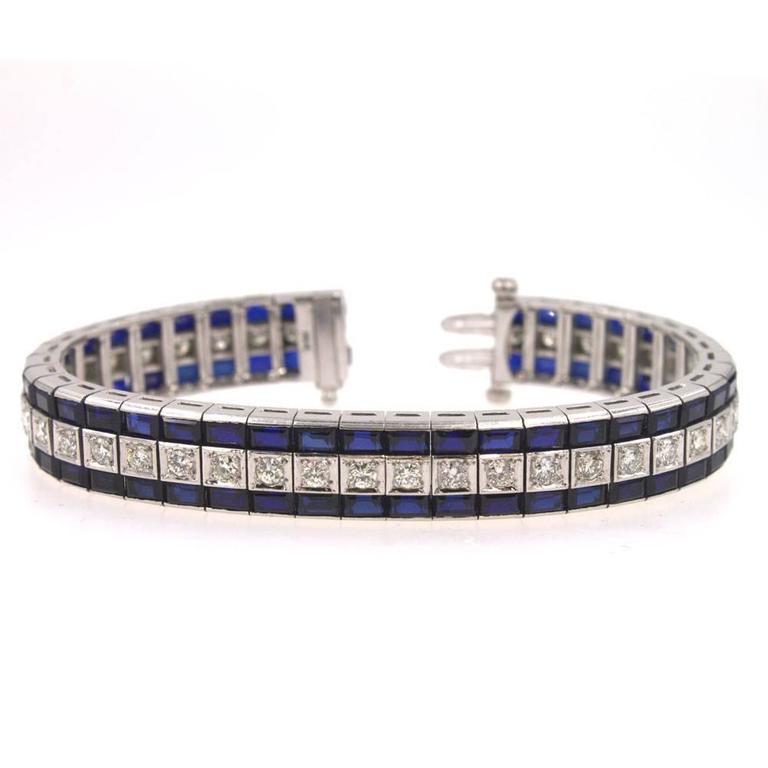 Diamond Sapphire Three Row Line Bracelet At 1stdibs