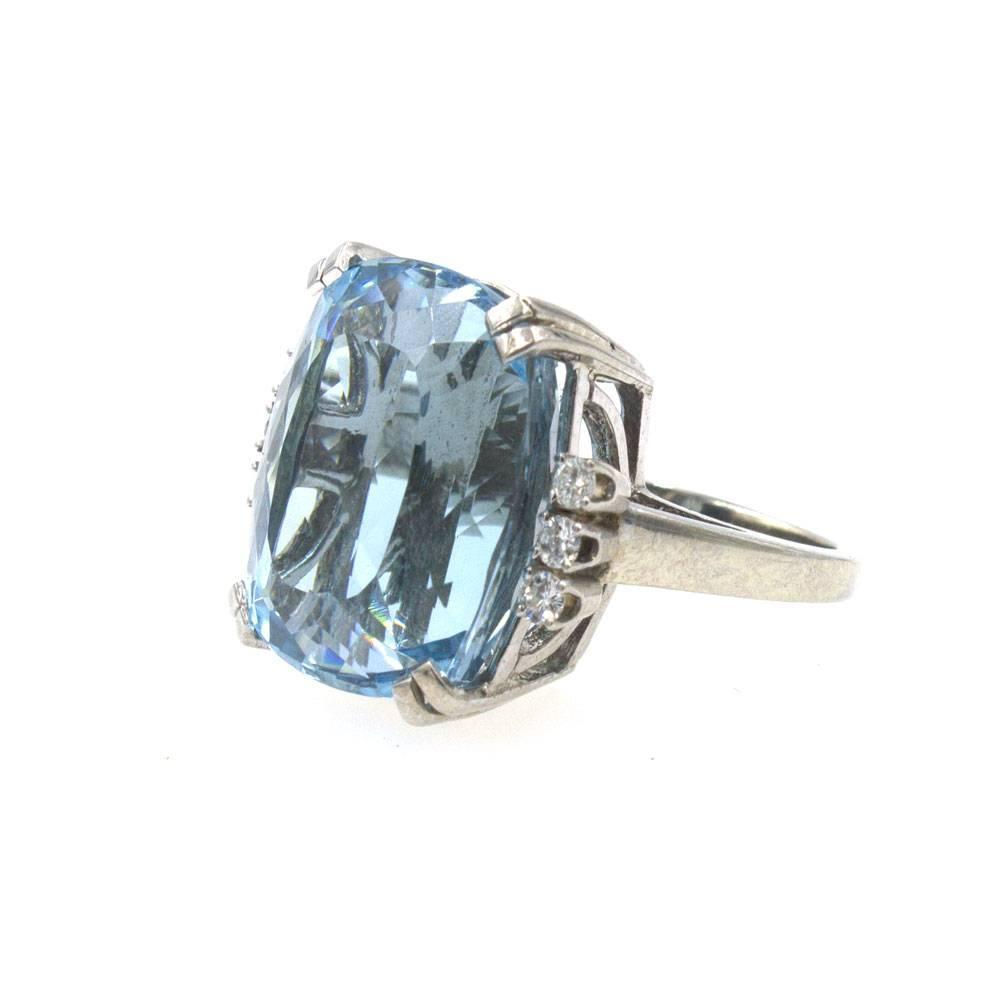24 carat aquamarine white gold ring for sale at