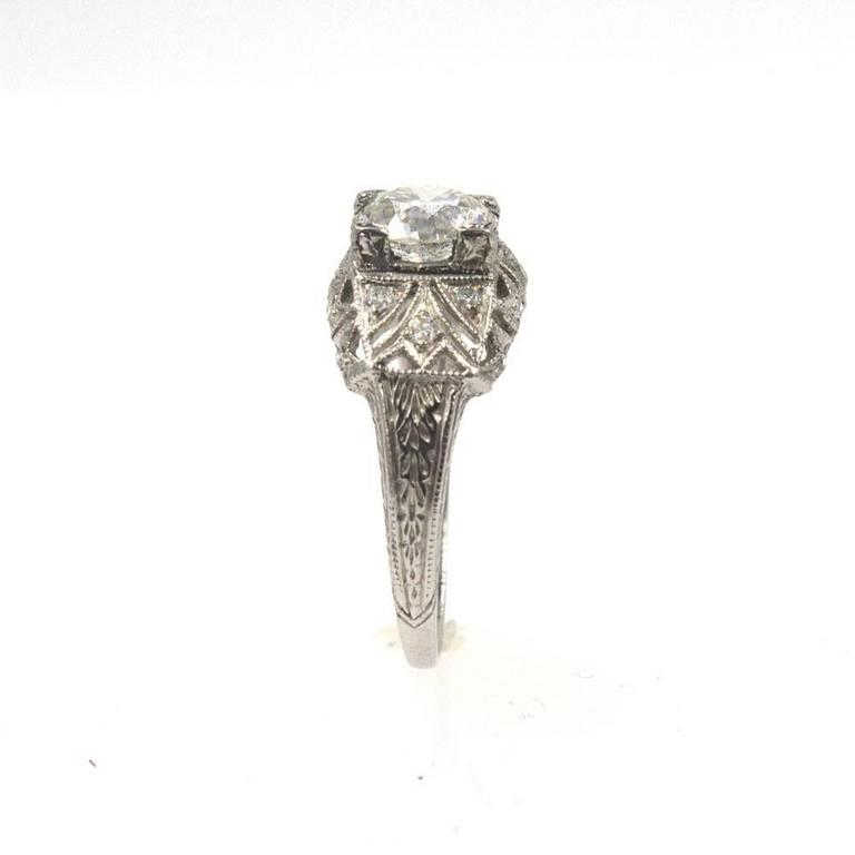 Old European Cut Art Deco Diamond Platinum Engagement Ring For Sale