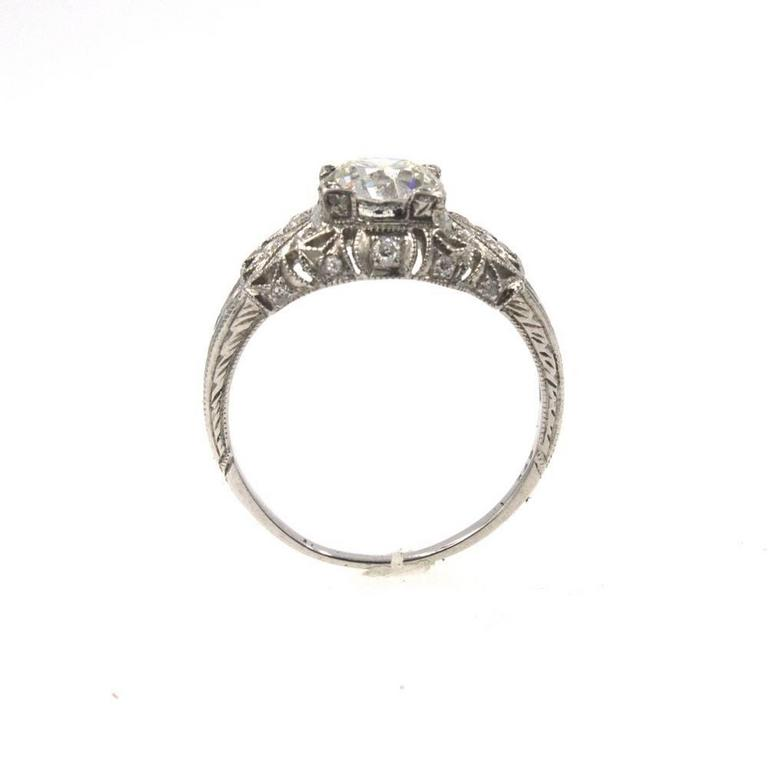 Art Deco Diamond Platinum Engagement Ring In Excellent Condition For Sale In Boca Raton, FL