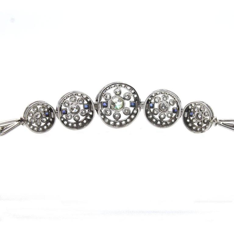 Original Art Deco Diamond Sapphire Platinum Circle Link Bracelet For Sale 1