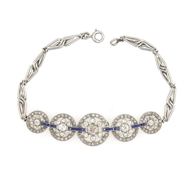 Original Art Deco Diamond Sapphire Platinum Circle Link Bracelet In Good Condition For Sale In Boca Raton, FL