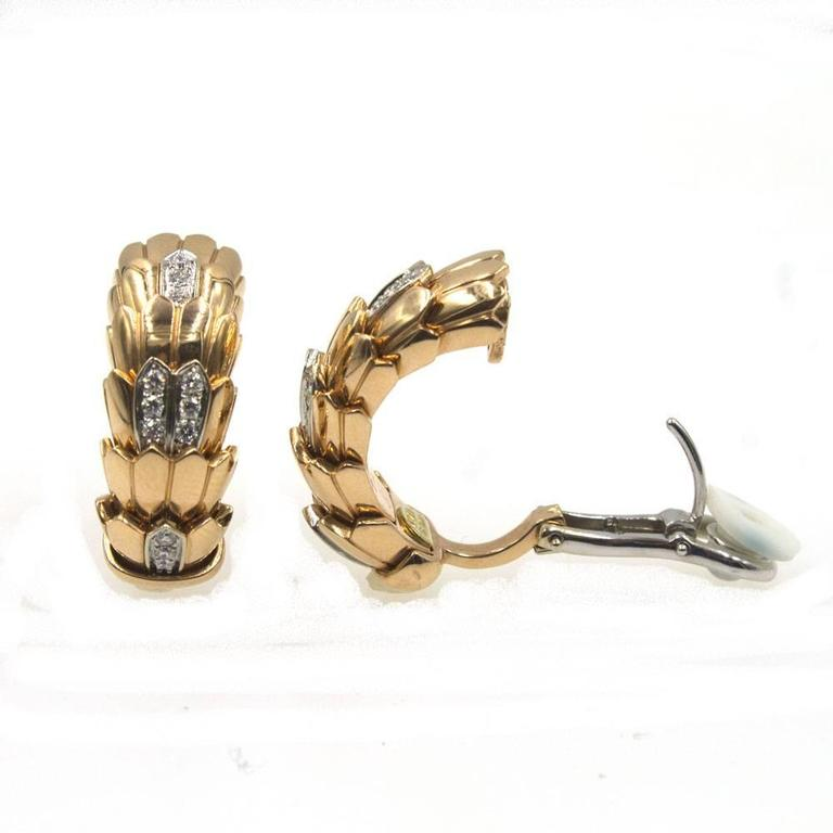 Roberto Coin Diamond 18 Karat Rose Gold Horse Mane Fashion Earrings 2