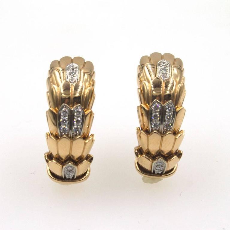 Roberto Coin Diamond 18 Karat Rose Gold Horse Mane Fashion Earrings 4