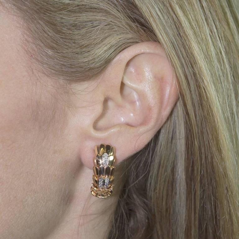 Roberto Coin Diamond 18 Karat Rose Gold Horse Mane Fashion Earrings 5