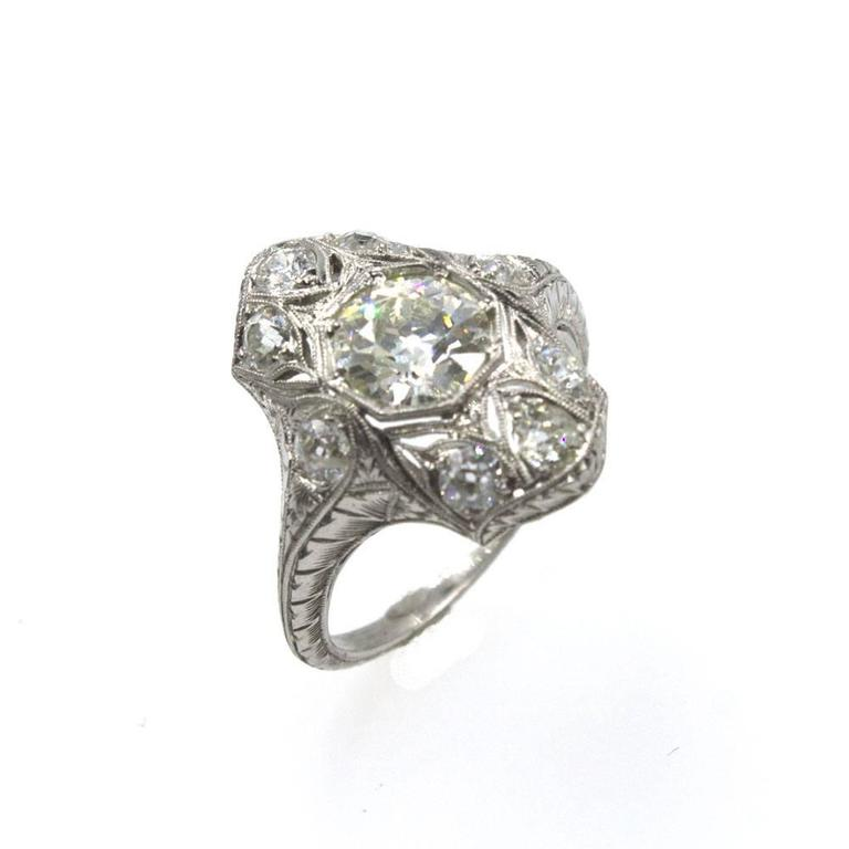 Art Deco Old European Cut Diamond Platinum Filigree Engagement Ring For Sale
