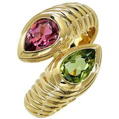 Bulgari Doppio Crossover Pink Tourmaline Peridot 18 Karat Yellow Gold Ring