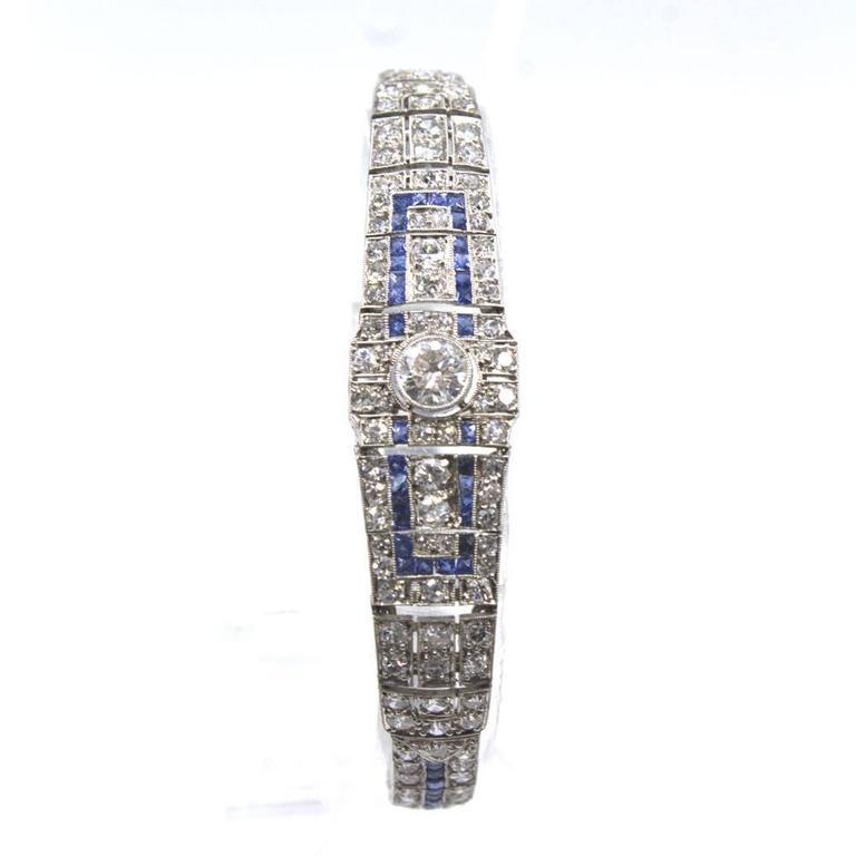 Art Deco Original Sapphire Diamond Platinum Link Bracelet 2