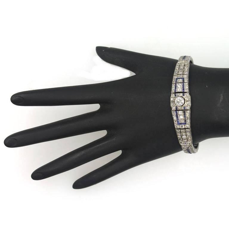 Art Deco Original Sapphire Diamond Platinum Link Bracelet 7