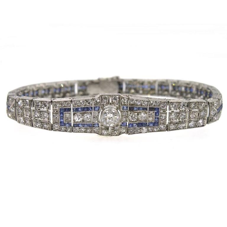 Art Deco Original Sapphire Diamond Platinum Link Bracelet 5