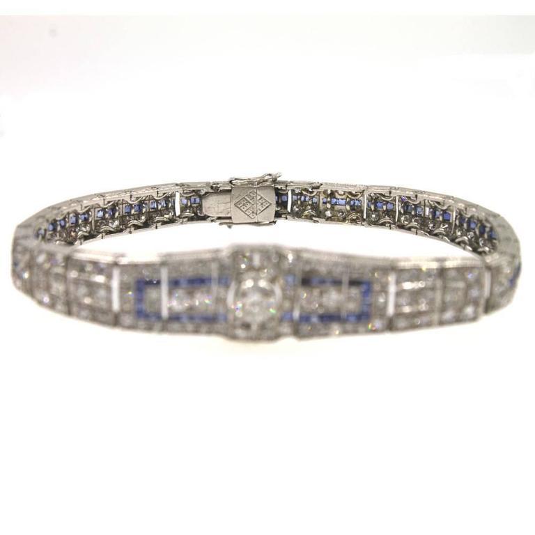 Art Deco Original Sapphire Diamond Platinum Link Bracelet 6