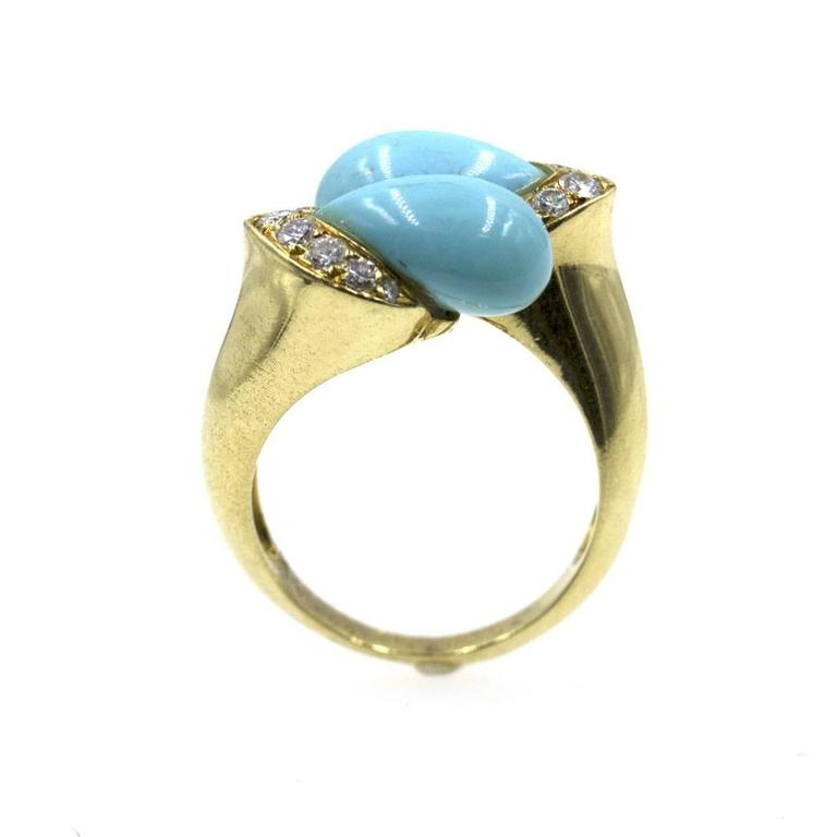 1960s Van Cleef & Arpels Turquoise Diamond Gold Bypass Ring 2