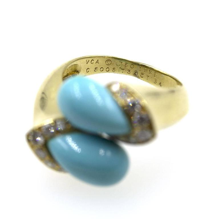 1960s Van Cleef & Arpels Turquoise Diamond Gold Bypass Ring 4
