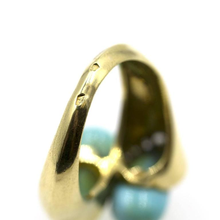 1960s Van Cleef & Arpels Turquoise Diamond Gold Bypass Ring 5