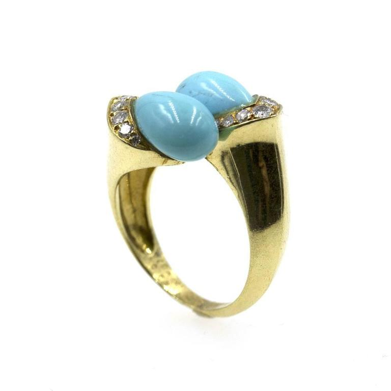 1960s Van Cleef & Arpels Turquoise Diamond Gold Bypass Ring 3